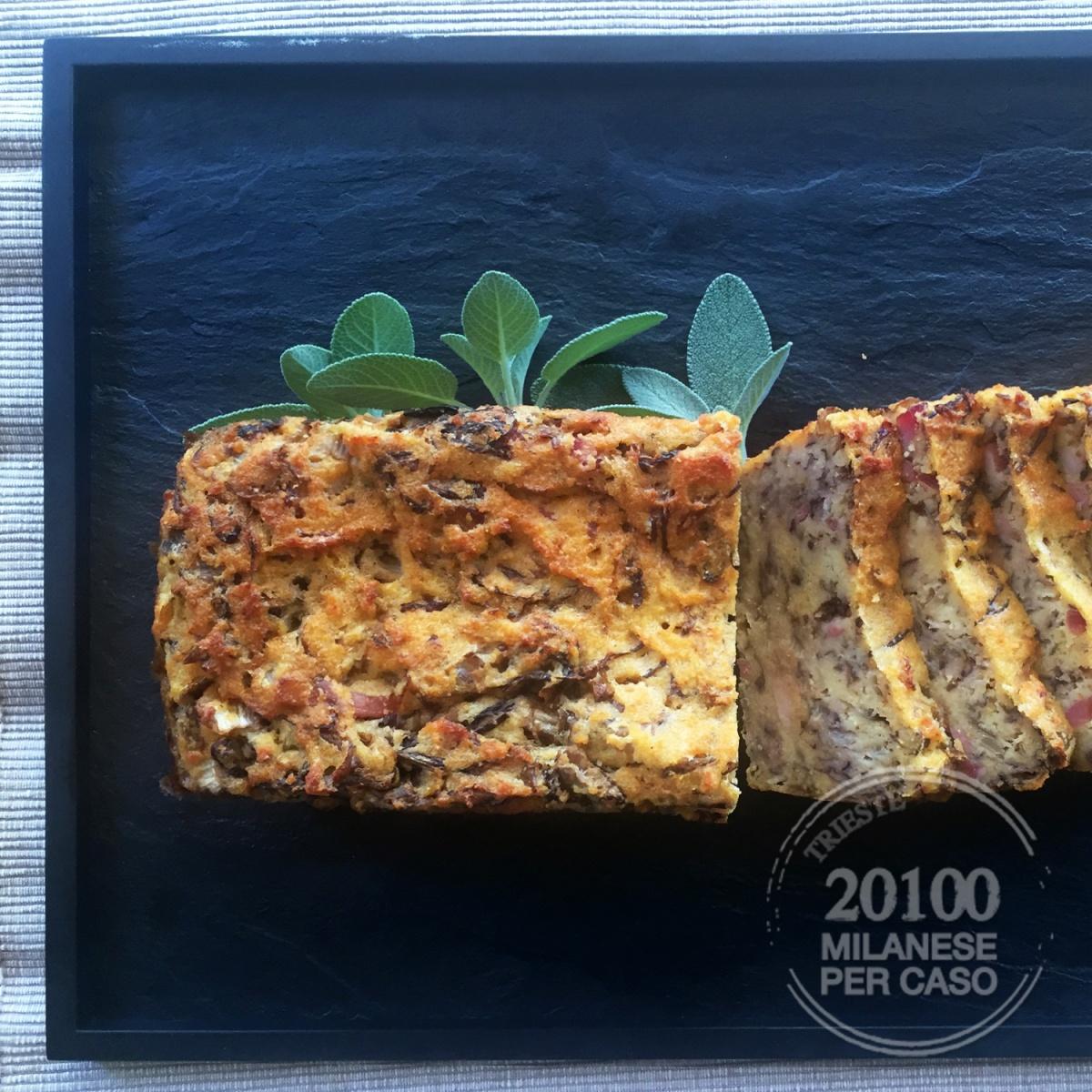 Plumcake salato con farina di mais e radicchio